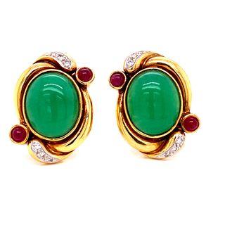 18k Gold Diamonds & Rubies Jade Jadeite Earrings