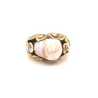Art Nouveau 14k Gold Pearl Ring