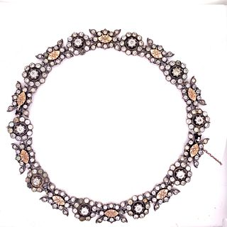 Victorian 15k Gold Silver Diamond Paste Necklace