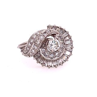 Platinum and Diamonds Retro Shell Shaped Ring