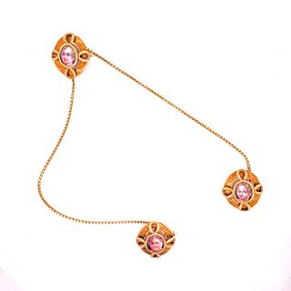 Victorian 14k Gold Chatelaine Brooch Enamel Faces