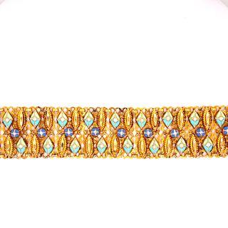 22k Gold Victorian Indian Enamel Bracelet