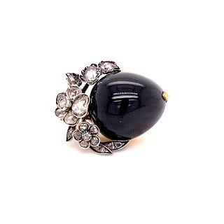 14 Gold Garnet Diamonds Brooch
