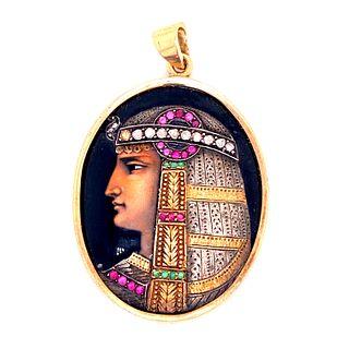 Art Deco Gold Diamonds Egyptian Pendant