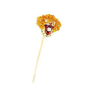 Edwardian 14k Tiger Enamel Pin
