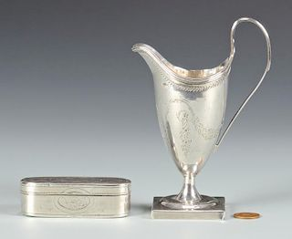George III cream jug, snuff box