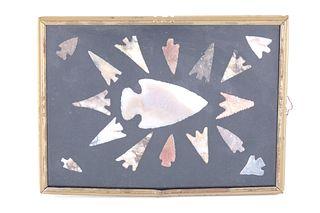 Framed Ancient Clovis Gunther Points 1000-200 B.P.