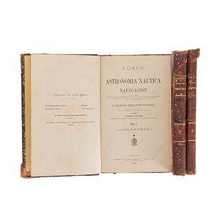 Fernández Foncheta, Francisco. Curso de Astronomía Náutica y Navegación Acompañado de unos Elementos de ... Cádiz, 1880.  Pieces: 3.