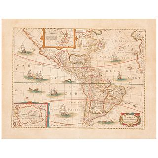 "Hondio, Henrico. America Noviter Delineata. Amsterdam, 1631. Colored, engraved map, 14.7 x 19.6"" (37.5 x 50 cm)"