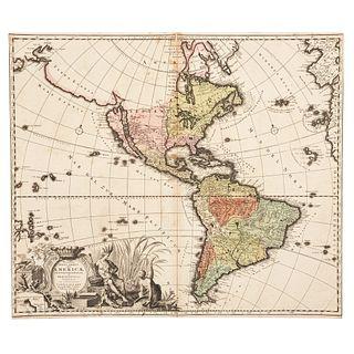 "Allard, Caroli. Recentisima Novi Orbis Sive Americae... Amsterdam, ca. 1700. Colored, engraved map, 19.6 x 23.2"" (50 x 59 cm)"