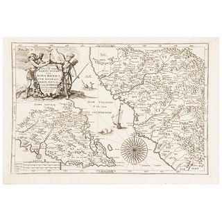 """Scherer, Heinrich. Delineatio Nova et Vera Partis Australis Novi Mexici... Münich, ca. 1702. Engraved map, 9.5 x 14.1"""" (24.3 x 36 cm)"""
