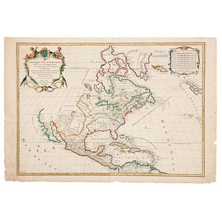 "Jaillot, Hubert - Jaillot, Benard. Amerique Septentrionale... Paris, 1719. Engraved, colored map, 18.3 x 25.3"" (46.5 x 64.5 cm)"