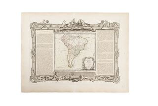 "de la Tour, Louis. Chili, Paraguay, Brésil, Amazones, et Pérou. Paris: Chez Desnos, ca., 1766.  Engraved, colored map, 9.2 x 10.4"" (23.5 x 26.5 cm)"