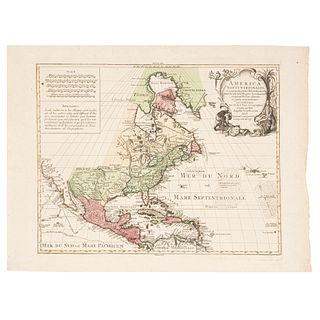 "L'Isle, Guillaume de. America Septentrionalis... Augsburgo: Tobiam Conrad Lotter, ca. 1770. Colored, engraved map, 18.8 x 23.2"" (48 x 59 cm)"