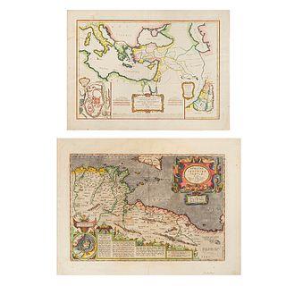 Ortelli, Abrahami / Bonne, M. Africae Propriae Tabula / Carte de Régions et des Lieux… 1624 / Ca. 1771. Colored maps. Pieces: 2.
