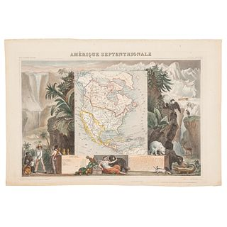 "Levasseur, Victor.  Amérique Septentrionale. Paris: A. Combelle, ca. 1845. Colored, engraved map, 11.2 x 17"" (28.5 x 43.5 cm)"