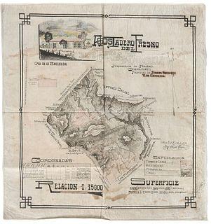 "Gárate, Ricardo. Plano del Agostadero del Fresno, Hoy Puerta de Bombela. México, D. F., 1919. Colored map, 32.2 x 30.7"" (82x78 cm)"