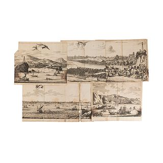 Montanus, Arnoldus. Vistas de Puertos Japoneses. Ámsterdam, 1669. Engravings. Pieces: 5.