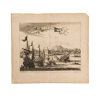 "Montanus, Arnuldus - Ogilby, John. San Francisco de Campeche. London, 1671. Engraving, 11.4 x 13.9"" (29 x 35.5 cm); Complete page, 16 x 17.7"""
