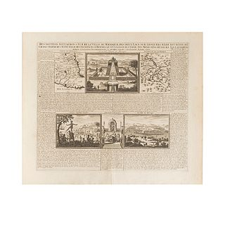"Chatelain, Henry Abraham. Description, Situation & Vue de la Ville de Mexique... Amsterdam, 1719. Engraving, 14.7 x 17.3"" (37.5 x 44 cm)"