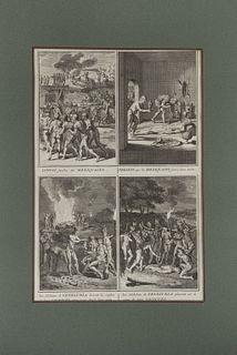 Picart, Bernard. Escenas Ceremoniales y Costumbres Religiosas. Amsterdam, 1721 - 1723. Engravings. Pieces: 5.