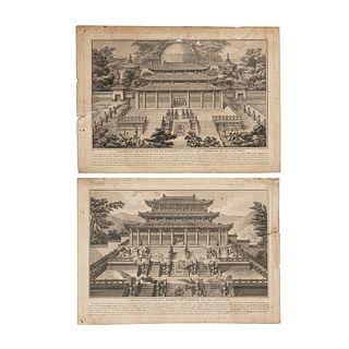 Helman, Isidore Stanislas. Cérémonies Respectueuses de l'Empereur.../ L'Empereur Récitant... Engravings. Paris, 1788. Pieces: 2.