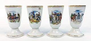 FOUR, LIMOGES CHATEAUROUX PORCELAIN WINE CUPS