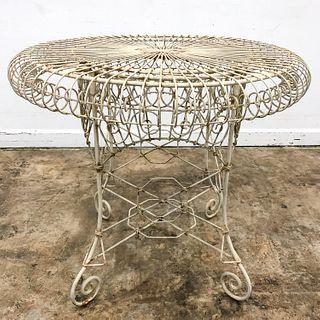 FRENCH, DISTRESSED WHITE IRON GARDEN TABLE