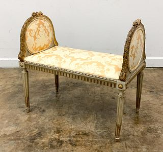 FRENCH, 19TH CENTURY GILTWOOD WINDOW BENCH