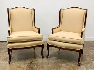 PAIR, LOUIS XV STYLE UPHOLSTERED WING CHAIRS