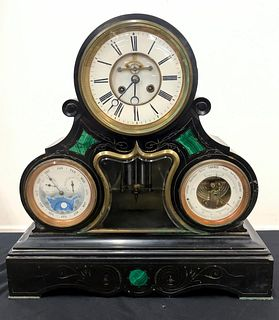 19TH C., FRENCH TRIPLE DIAL MOONPHASE MANTLE CLOCK
