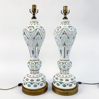 PAIR, BOHEMIAN WHITE FLORAL CASED GLASS LAMPS