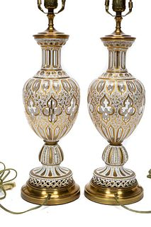 PAIR, 20TH C. BOHEMIAN CASED GLASS TABLE LAMPS
