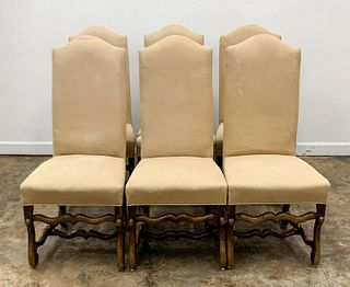 SET, 6 FRENCH PROVINCIAL STYLE UPHOLSTERED CHAIRS