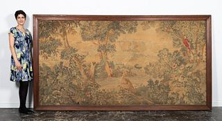 ANTIQUE PALATIAL VERDURE TAPESTRY WITH BIRDS