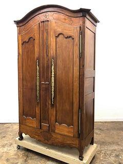 LARGE, 19TH CENTURY FRENCH OAK TWO DOOR ARMOIRE