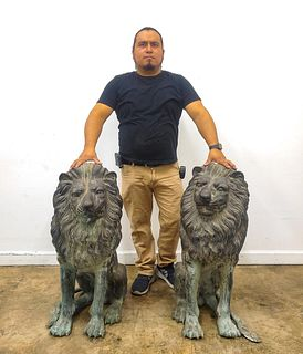PAIR, LARGE CAST BRONZE GUARDIAN LIONS