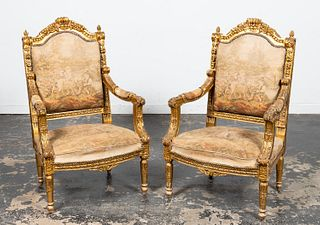 PAIR, E. 20TH C. NEOCLASSICAL STYLE GILT ARMCHAIRS
