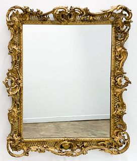 19TH C., BAROQUE STYLE GILTWOOD WALL MIRROR