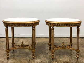 PAIR, ITALIAN GILTWOOD & MARBLE TOP SIDE TABLES