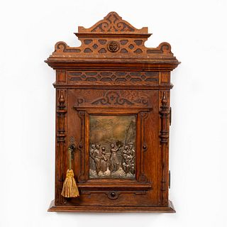 19TH C. HANGING OAK CABINET WITH COPPER PLAQUE