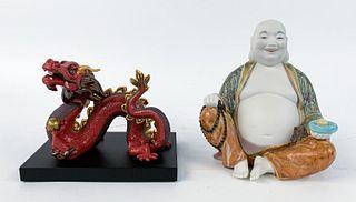 TWO, LLADRO PORCELAIN FIGURES, DRAGON & BUDDHA