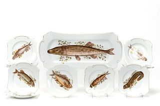 EARLY 20TH C., FRIEDA PORCELAIN FISH SERVICE, 13PC