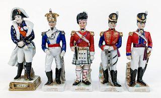 FIVE ENGLISH PORCELAIN SOLDIER FIGURES