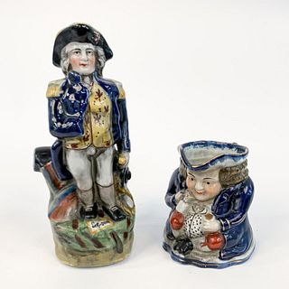 TWO, DECORATIVE FIGURAL PORCELAIN OBJECTS