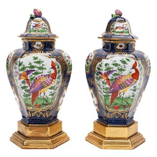 PAIR ROYAL WORCESTER STYLE CHINOISERIE LIDDED URNS