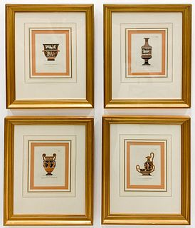 SET OF FOUR, HENRY MOSES GRECIAN VASE ENGRAVINGS