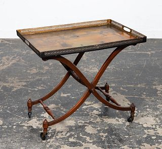 20TH C. LANDSCAPE PAINTED TOLE TRAY TABLE