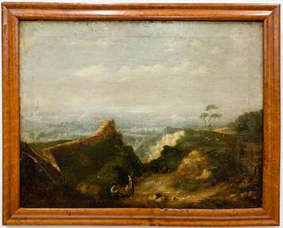 ENGLISH SCHOOL LANDSCAPE OIL ON CANVAS PAINTING