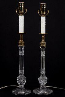 PAIR, ENGLISH CUT GLASS CANDLESTICKS AS LAMPS